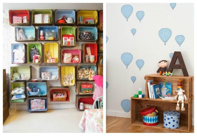 estanteria cajas de fruta infantil - Estanterias Con Cajas