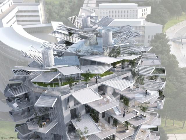 El edificio compuesto de terrazas