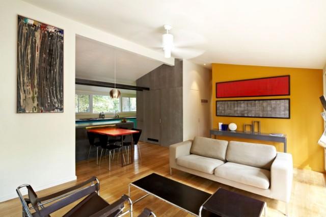 amarillo pared salon