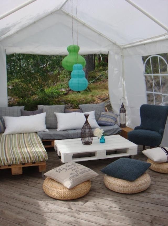 sofas con palets 10 - Terraza Con Palets